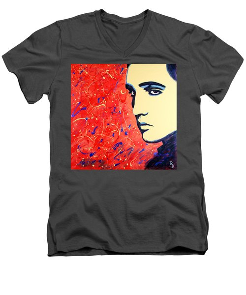 Elvis Presley - Red Blue Drip Men's V-Neck T-Shirt by Bob Baker