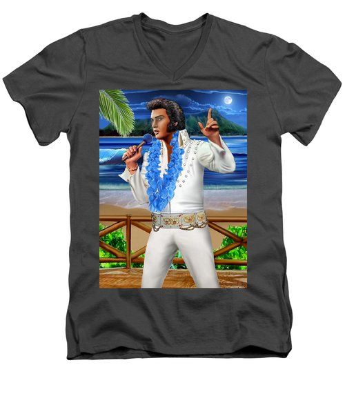 Elvis The Legend Men's V-Neck T-Shirt by Glenn Holbrook