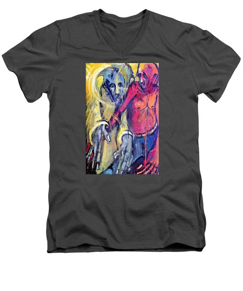 Men's V-Neck T-Shirt featuring the painting Emergence Of God The Father by Kenneth Agnello