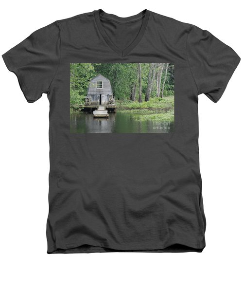 Emerson Boathouse Concord Massachusetts Men's V-Neck T-Shirt by Amy Porter