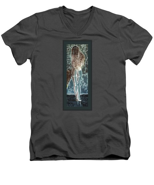 Men's V-Neck T-Shirt featuring the digital art Emotionally Fragile by Paula Ayers