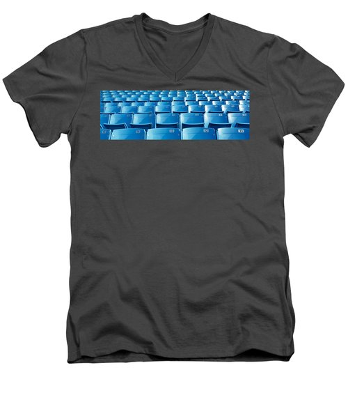 Empty Blue Seats In A Stadium, Soldier Men's V-Neck T-Shirt by Panoramic Images