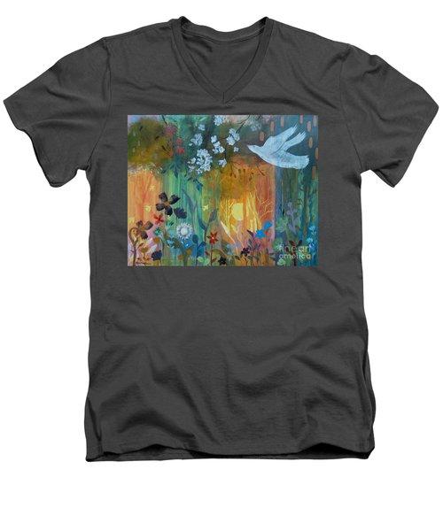 Men's V-Neck T-Shirt featuring the painting Encantador by Robin Maria Pedrero