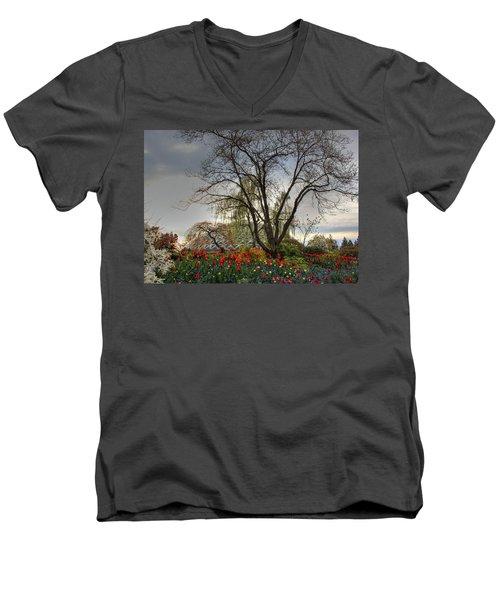 Men's V-Neck T-Shirt featuring the photograph Enchanted Garden by Eti Reid