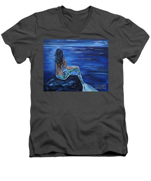 Enchanting Mermaid Men's V-Neck T-Shirt by Leslie Allen