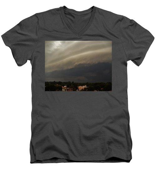 Men's V-Neck T-Shirt featuring the photograph Encroaching Shelf Cloud by Ed Sweeney
