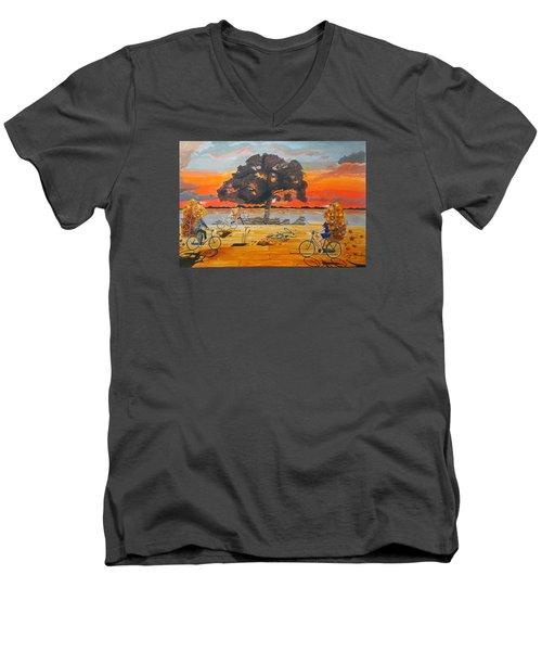 End Of Season Habits Listen With Music Of The Description Box Men's V-Neck T-Shirt by Lazaro Hurtado