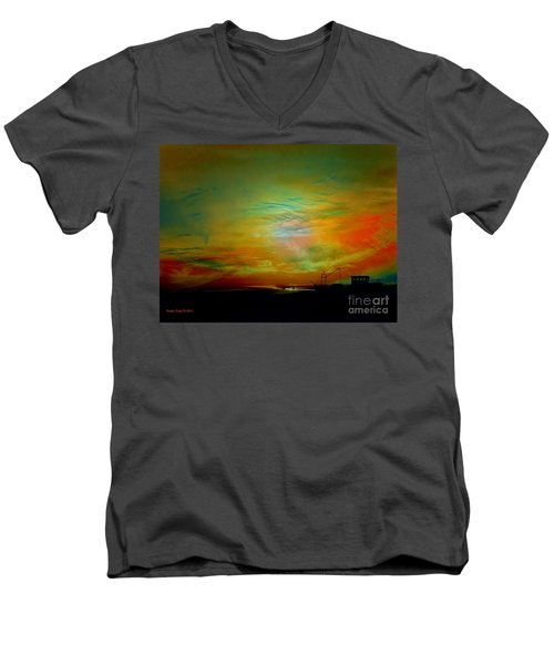 Men's V-Neck T-Shirt featuring the photograph End Of The Fishing Day by Annie Zeno