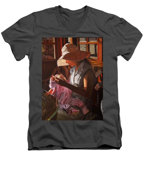 Men's V-Neck T-Shirt featuring the painting Enfamil At Ha Long Bay Vietnam by Thu Nguyen