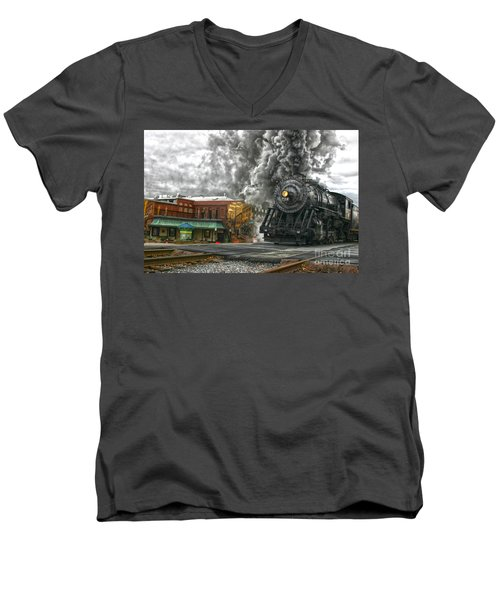 Engine 734 On The Western Maryland Scenic Railroad  Men's V-Neck T-Shirt by Jeannette Hunt