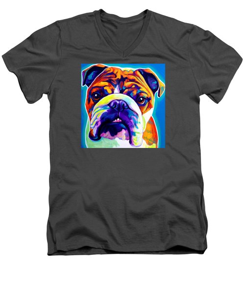 Bulldog - Bond -square Men's V-Neck T-Shirt