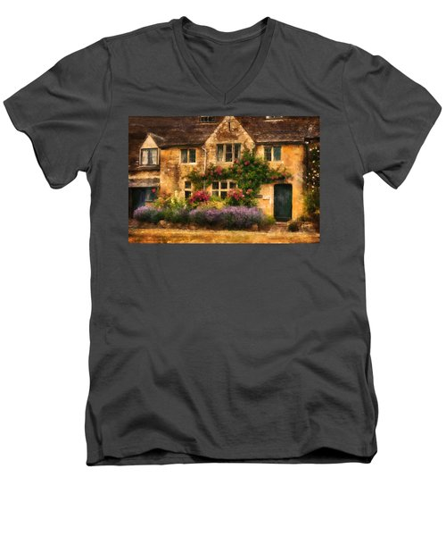 English Stone Cottage Men's V-Neck T-Shirt