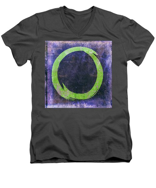 Enso No. 108 Green On Purple Men's V-Neck T-Shirt
