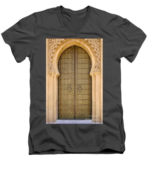 Entrance Door To The Mausoleum Mohammed V Rabat Morocco Men's V-Neck T-Shirt