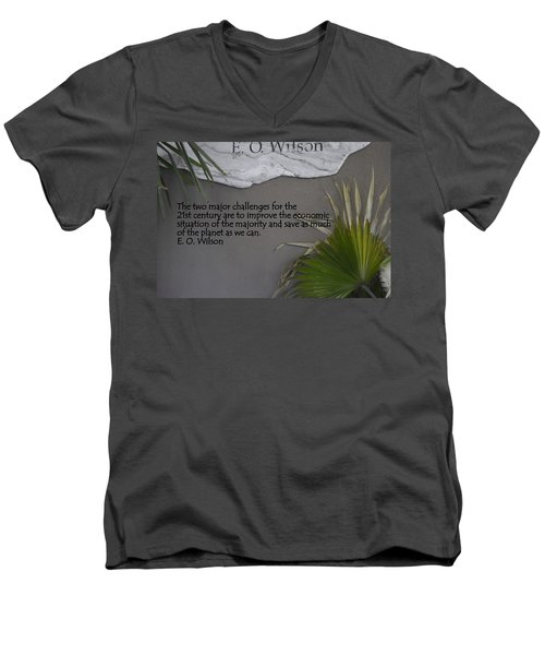 E.o. Wilson Quote Men's V-Neck T-Shirt by Kathy Barney