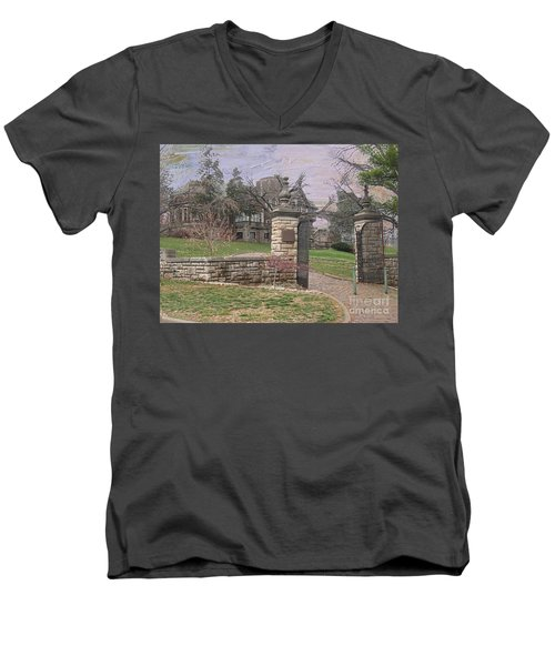 Epperson House House On The Hill Men's V-Neck T-Shirt by Liane Wright
