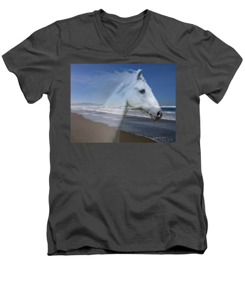 Equine Shores Men's V-Neck T-Shirt by Athena Mckinzie