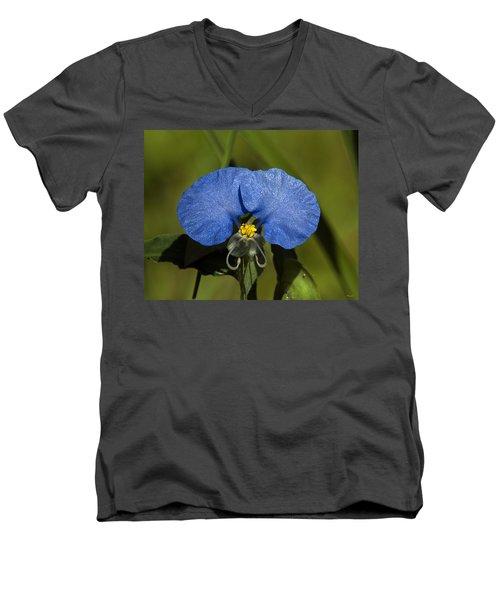 Erect Dayflower  Commelina Erecta Dsmf096 Men's V-Neck T-Shirt