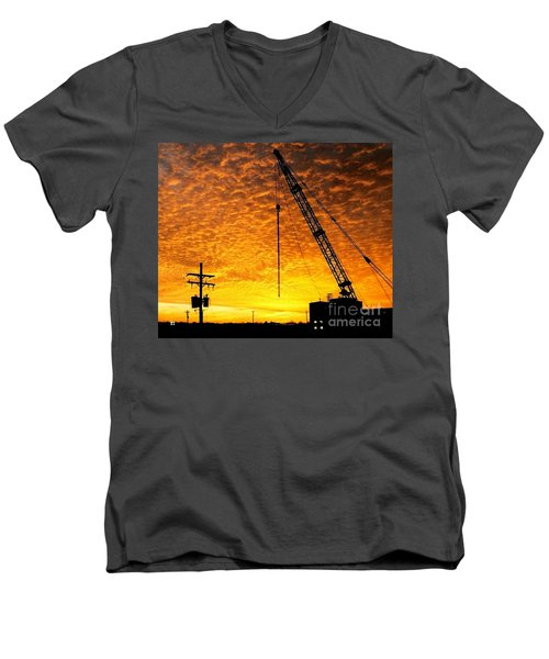 Erecting A Sunset In Beaumont Texas Men's V-Neck T-Shirt