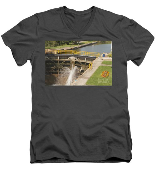 Men's V-Neck T-Shirt featuring the photograph Erie Canal Lock by William Norton