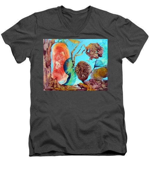 Men's V-Neck T-Shirt featuring the painting Ernsthaftes Spiel Im Innerem Erdteil by Otto Rapp