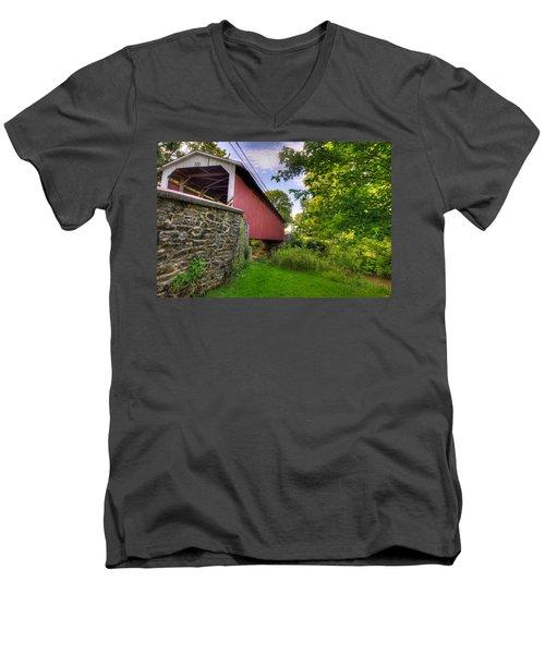 Men's V-Neck T-Shirt featuring the photograph Eshelman's Mill Covered Bridge by Jim Thompson