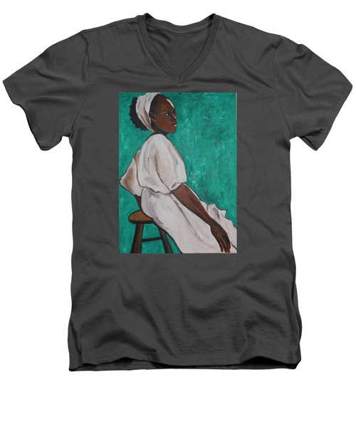 Men's V-Neck T-Shirt featuring the painting Ethiopian Woman In Green by Esther Newman-Cohen