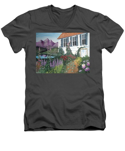 Men's V-Neck T-Shirt featuring the painting European Flower Garden by Norm Starks