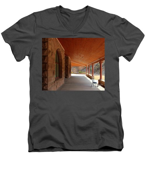 Men's V-Neck T-Shirt featuring the photograph Evans Porch by Bill Gabbert