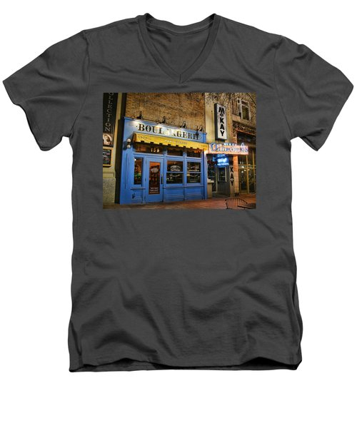 Men's V-Neck T-Shirt featuring the photograph Eva's Bakery  by Ely Arsha