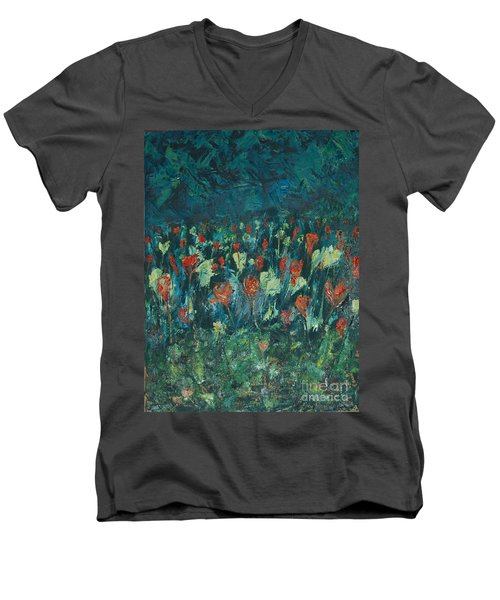Men's V-Neck T-Shirt featuring the painting Evening Buds by Mini Arora