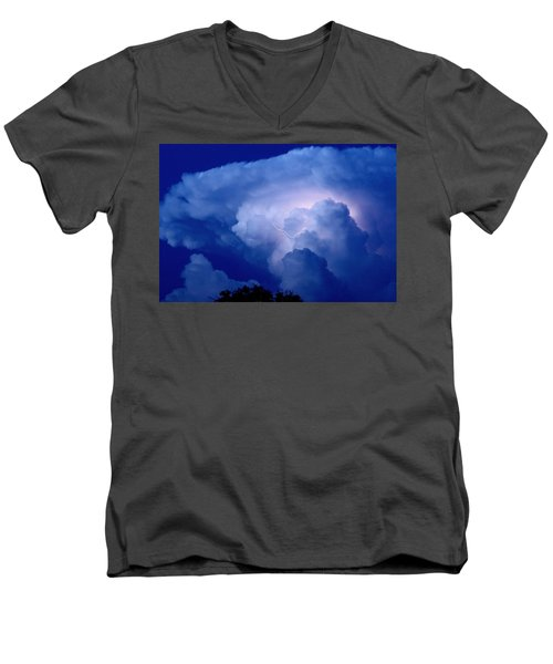 Men's V-Neck T-Shirt featuring the photograph Evening Giant by Charlotte Schafer
