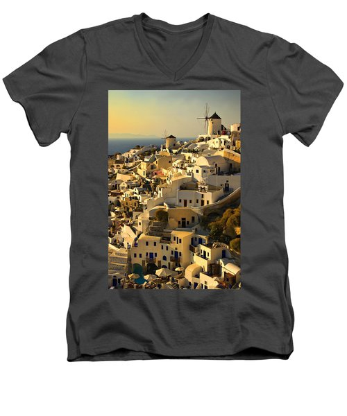 evening in Oia Men's V-Neck T-Shirt by Meirion Matthias