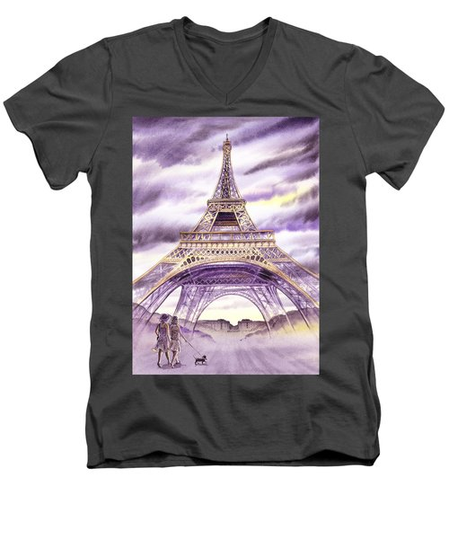 Evening In Paris A Walk To The Eiffel Tower Men's V-Neck T-Shirt
