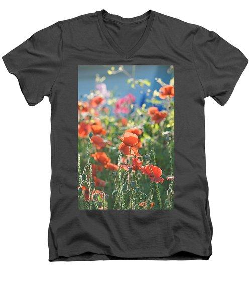 Evening Lights The Poppies Men's V-Neck T-Shirt
