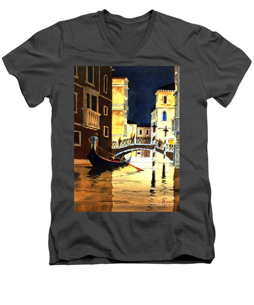 Men's V-Neck T-Shirt featuring the painting Evening Lights - Venice by Bill Holkham