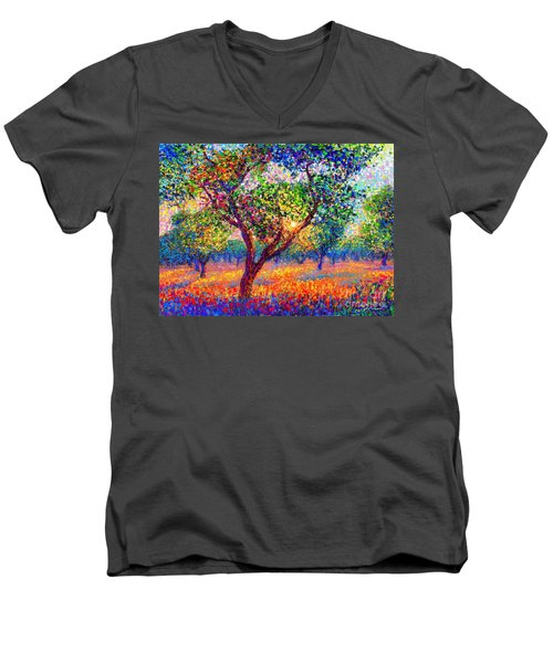Men's V-Neck T-Shirt featuring the painting Evening Poppies by Jane Small