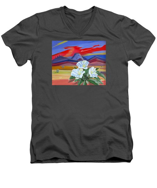 Men's V-Neck T-Shirt featuring the painting Evening Primrose by Phyllis Kaltenbach