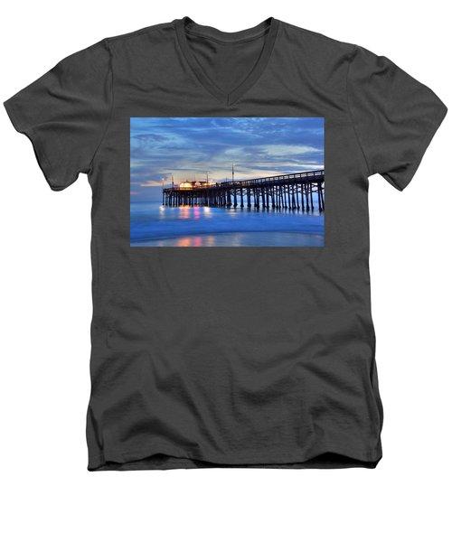 Evening Reflections Newport Beach Pier Men's V-Neck T-Shirt