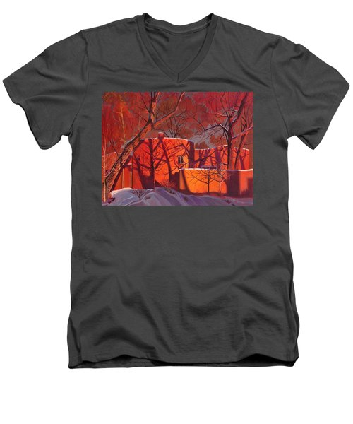 Men's V-Neck T-Shirt featuring the painting Evening Shadows On A Round Taos House by Art James West