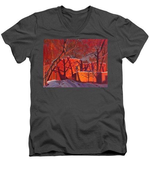 Evening Shadows On A Round Taos House Men's V-Neck T-Shirt