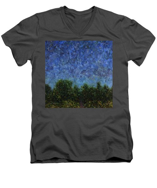 Men's V-Neck T-Shirt featuring the painting Evening Star - Square by James W Johnson