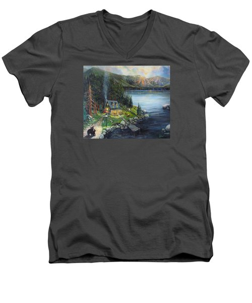 Evening Visitors Men's V-Neck T-Shirt by Donna Tucker