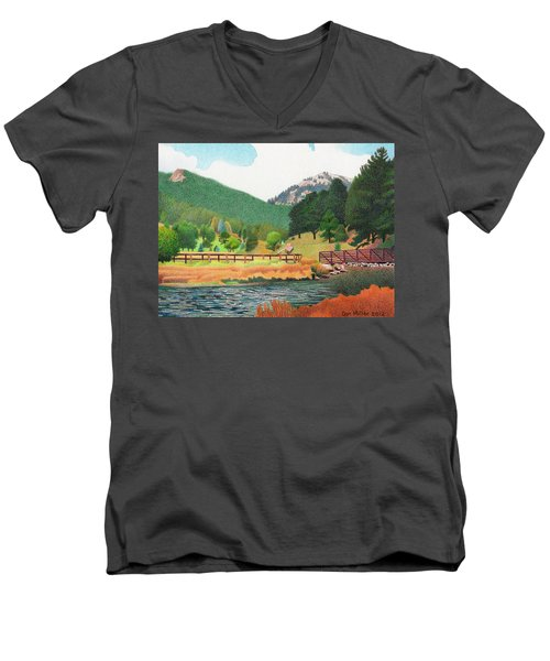 Evergreen Lake Spring Men's V-Neck T-Shirt