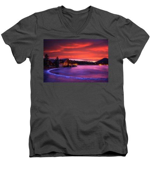 Evergreen Lake Sunrise Men's V-Neck T-Shirt