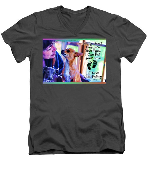 Men's V-Neck T-Shirt featuring the digital art Every Time I Look Into Your Eyes by Kathy Tarochione