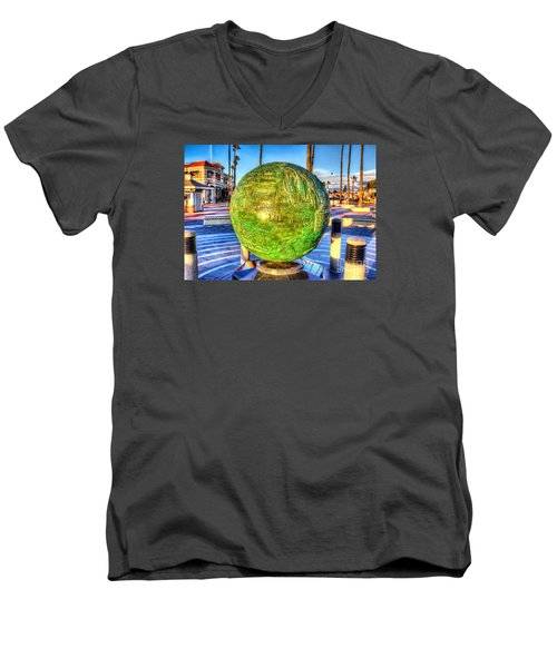 Men's V-Neck T-Shirt featuring the photograph Everyone Is Welcome At The Beach by Jim Carrell