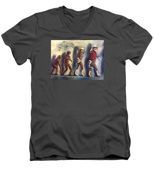 Men's V-Neck T-Shirt featuring the painting Evolution by Randol Burns