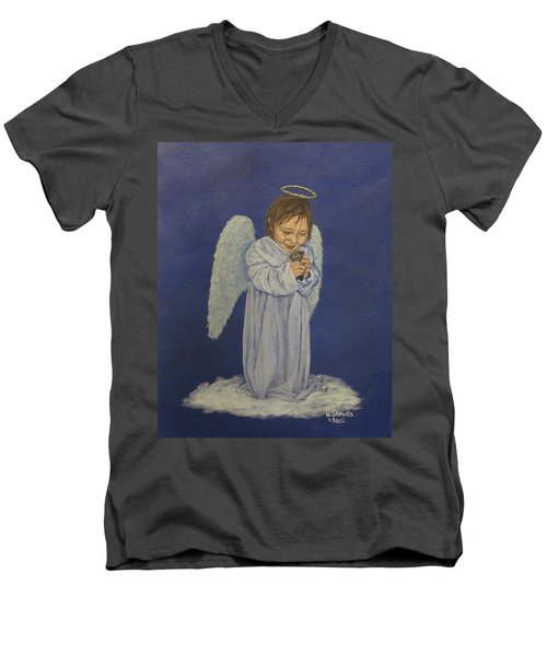Men's V-Neck T-Shirt featuring the painting Excitement by Wendy Shoults