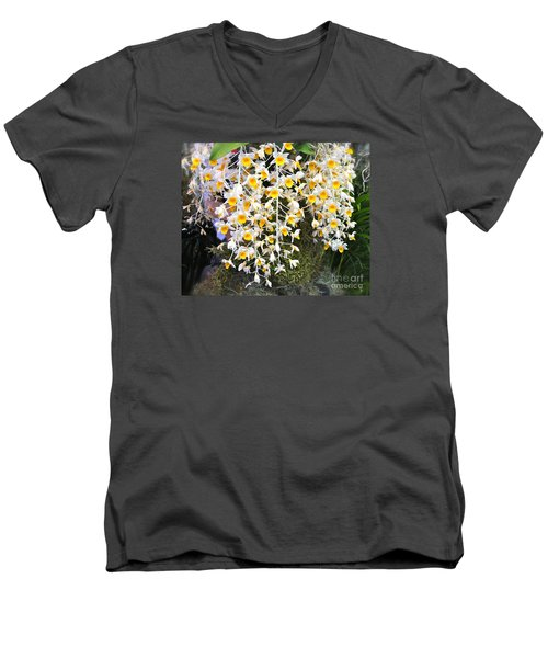 Exotic Aerides Men's V-Neck T-Shirt by The Art of Alice Terrill